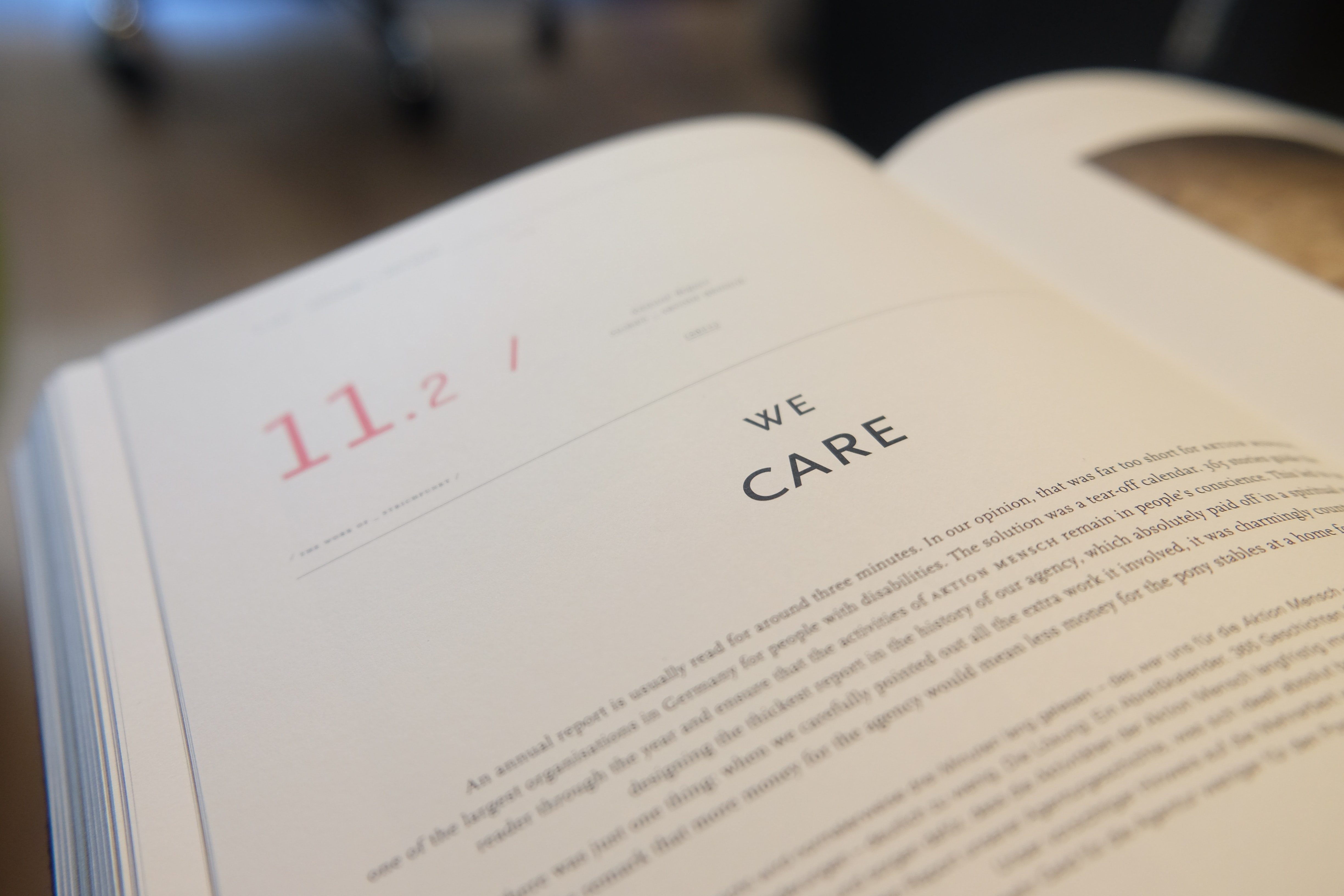 """open book to page that says """"we care"""""""